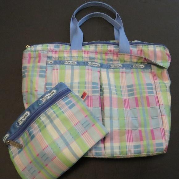 Lesportsac Handbags - LeSportsac Tote Purse Pastel Plaid 2 pc